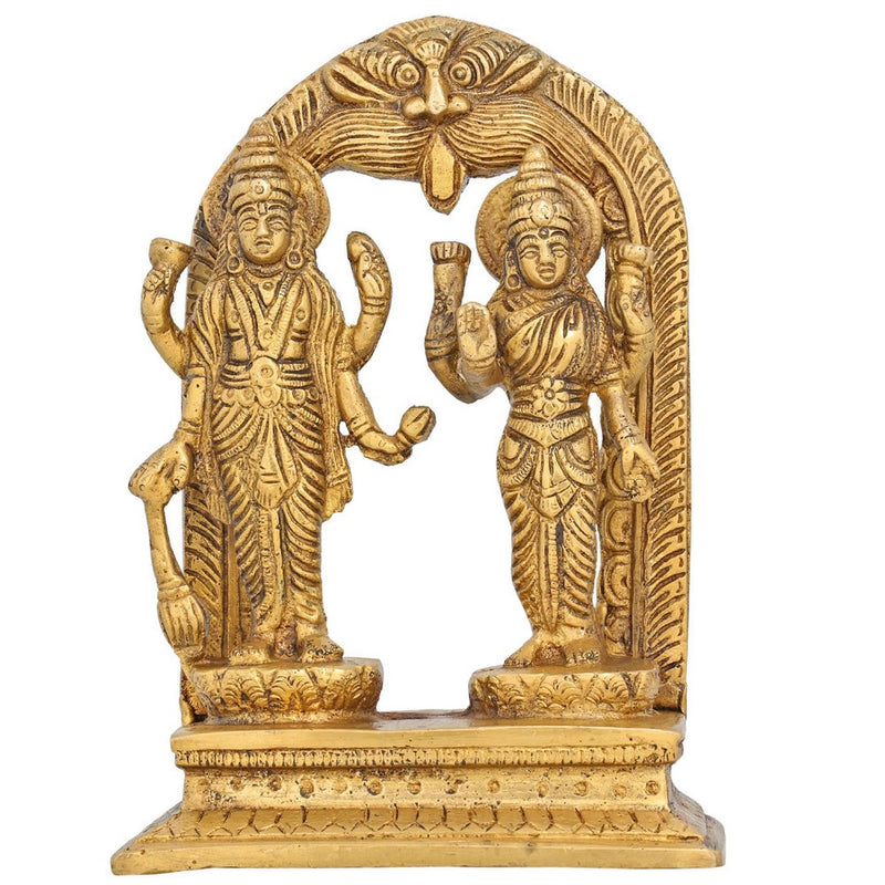 Hindu Puja Idol Vishnu and Lakshmi Brass Statue for Mandir Temple H: 6.5 InchWt: 650 Grams