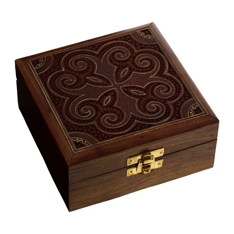 Indian Jewelry Holder - 5 x 5 x 2.25 Inch Small Wood Box - Jewelry Boxes for Bracelet - Present for Her