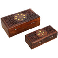 Wooden Jewelry Box Handcrafted Floral Art Inlay 5.25 x 2 x 1.25 Inches