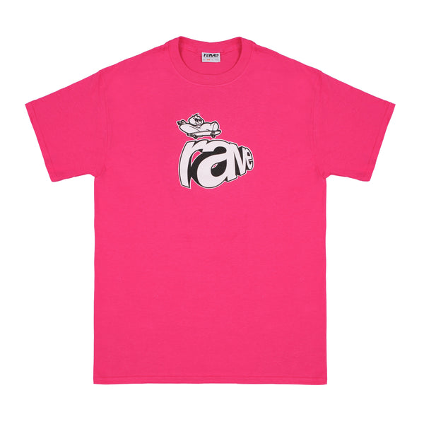 CURB pink tee - rave skateboards