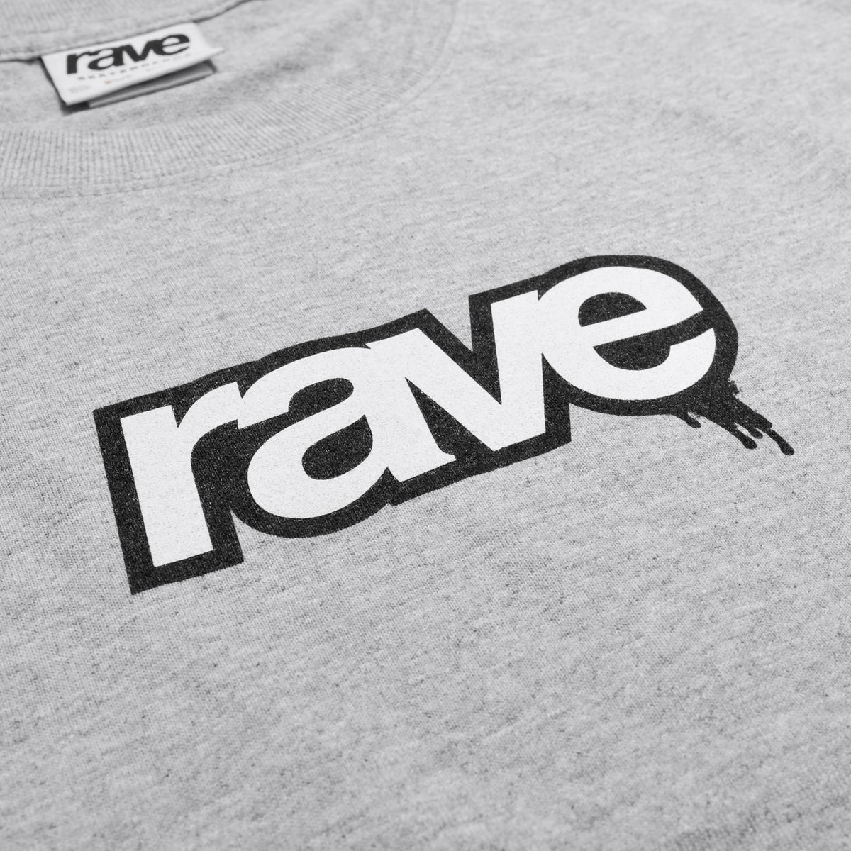 DROPS grey tee - RAVE skateboards