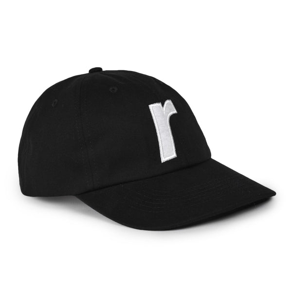 R felt logo cap black - RAVE skateboards
