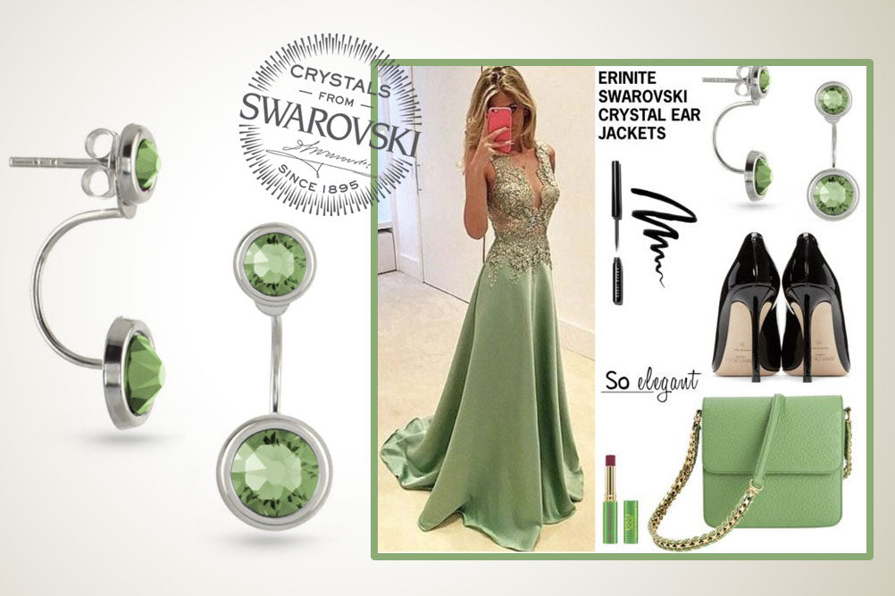 Christmas Gifts For Her Swarovski Elements Silver Earring Jackets Green