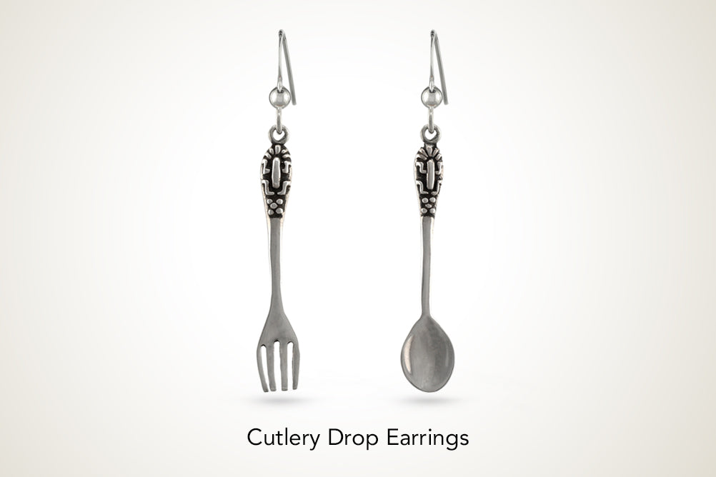 Mismatched Silver Cutlery Drop Earrings