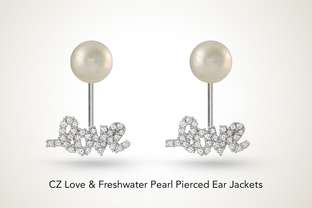 Freshwater Pearl Silver Message Earring Jackets