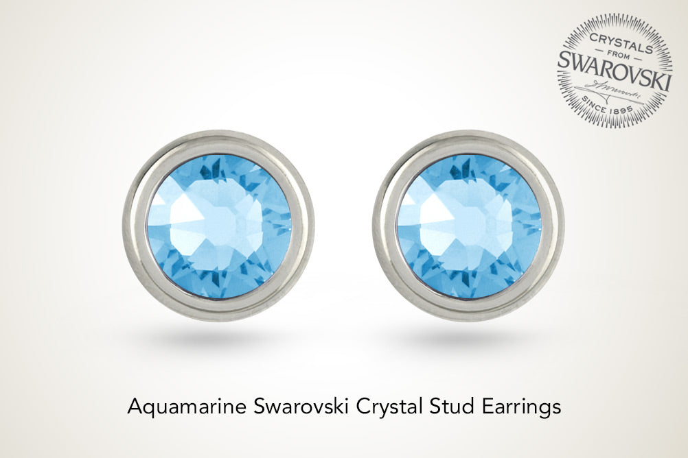 Aquamarine Round Swarovski Crystal Stud Earrings