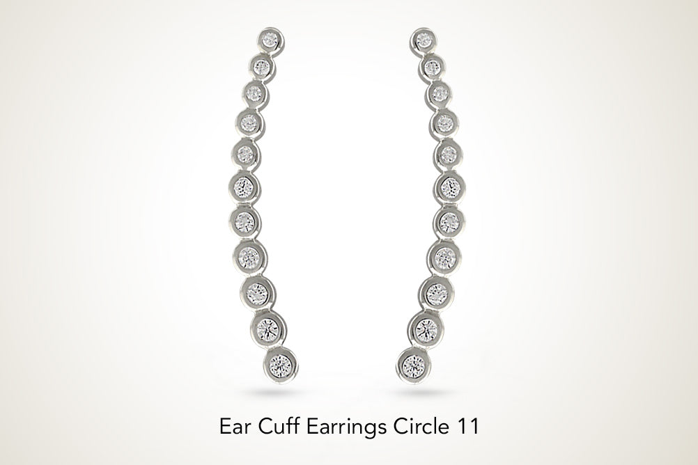 Ear Cuff Earrings Cubic Zirconia Circles Ear Climbers