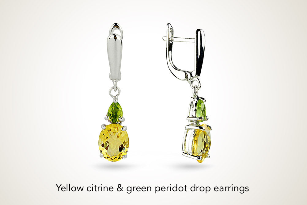 Yellow Citrine Green Peridot Drop Earrings
