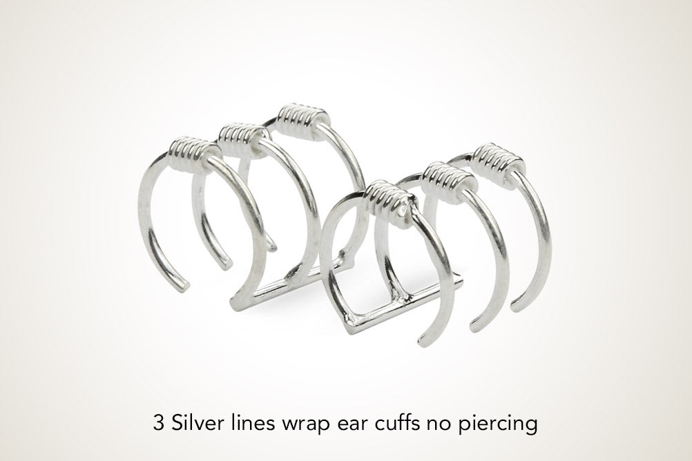 3 Silver Lines Wrap Ear Cuffs No Piercing