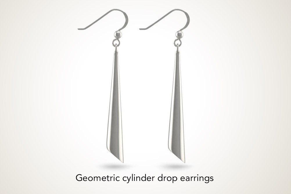 Geometric Silver Solid Cylinder Drop Dangling Earrings