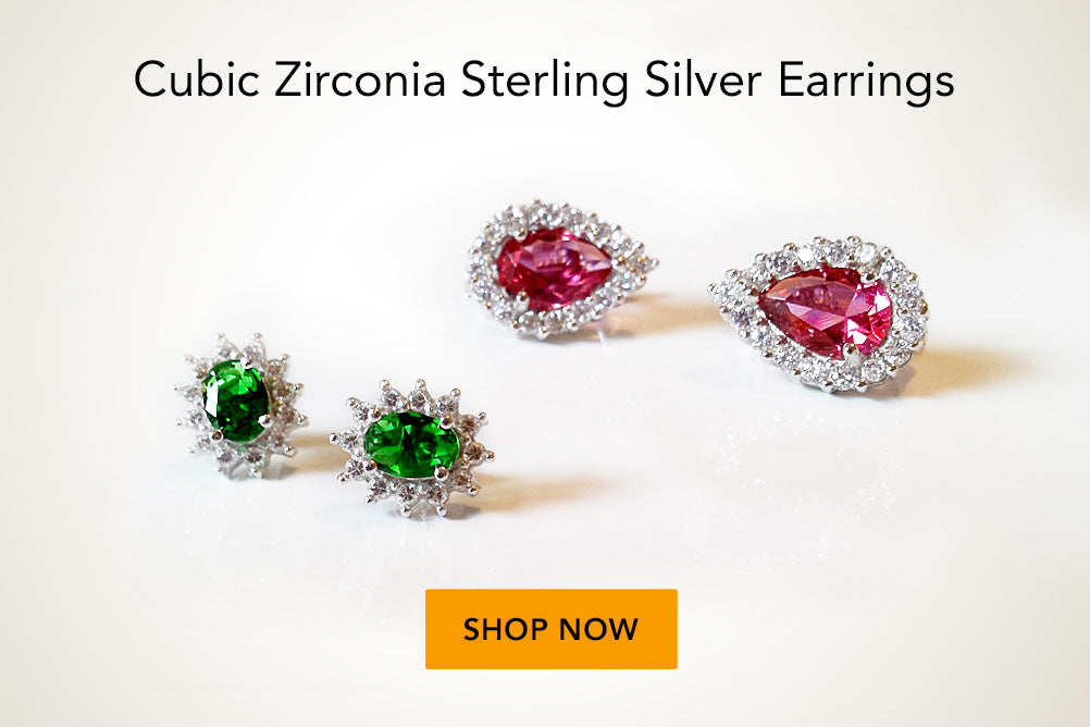 Cubic Zirconia Sterling Silver Studs Party Earrings