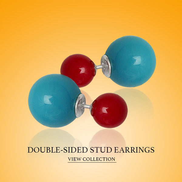 Sterling Silver Double Sided Stud Earrings