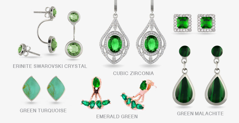 Green Stud Drop Earrings Stone Crystal
