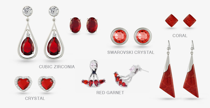 Boccai Red Stone Stud Drop Earrings