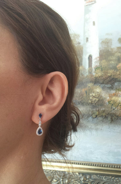 Sapphire Blue Cubic Zirconia Pear Drop Earrings