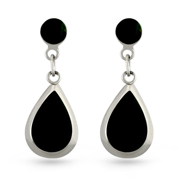 Black Resin Tear Drop Earrings
