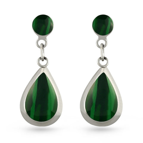 Green Malachite Tear Drop Earrings
