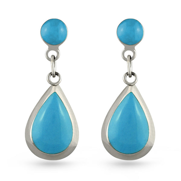 Sky Blue Stone Tear Drop Earrings