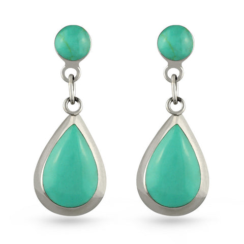 Green Turquoise Tear Drop Earrings