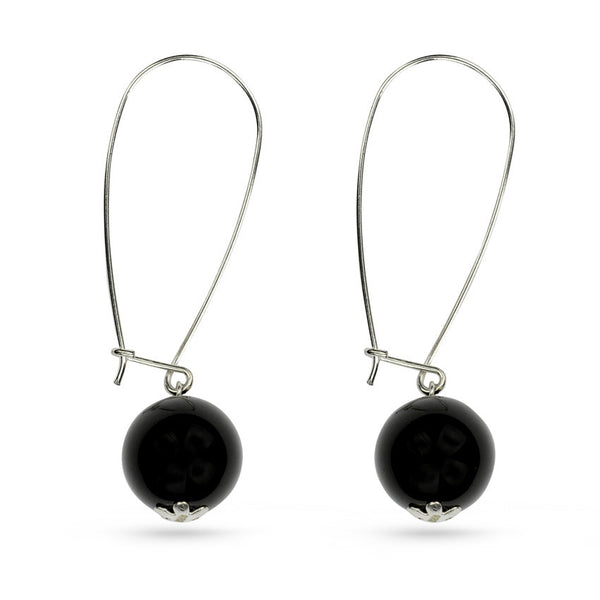 Sterling Silver Onyx Ball Drop Earrings