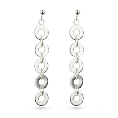 Silver Circles Drop Earrings