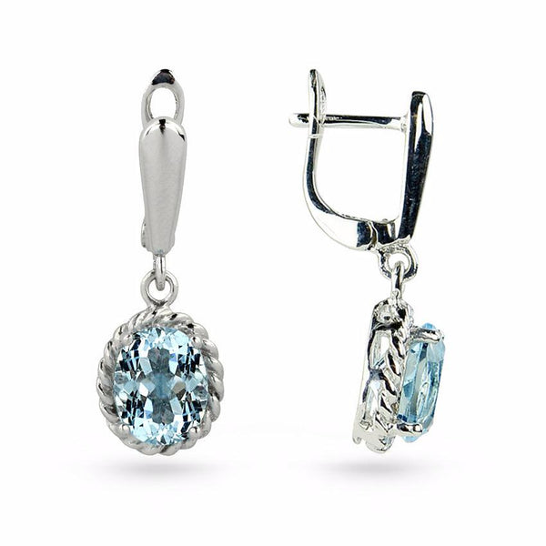 Sky Blue Topaz Drop Earrings No.6