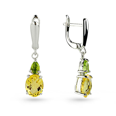 Yellow Citrine & Green Peridot Drop Earrings