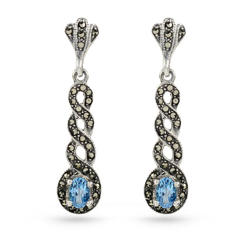 Marcasite Drop Earrings Sky Blue Topaz