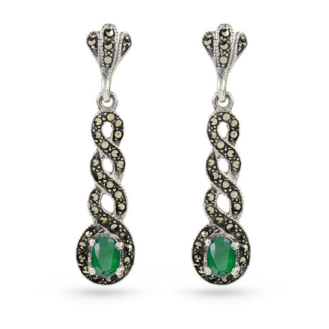 Marcasite Drop Earrings Green Emerald