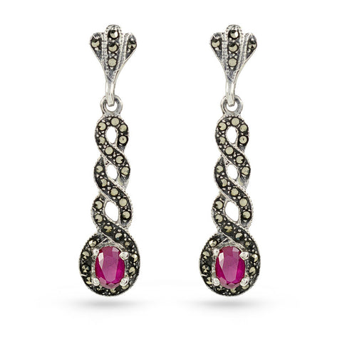 Marcasite Drop Earrings Red Ruby