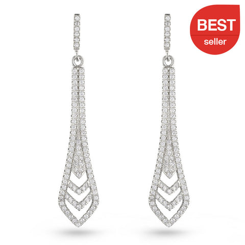 Bridal Cubic Zirconia Long Drop Earrings