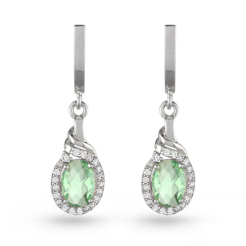 Green Aquamarine Oval Drop Earrings