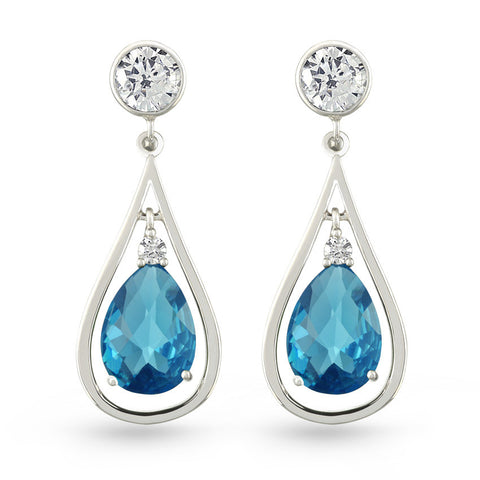 Blue Aquamarine Zircon Drop Earrings