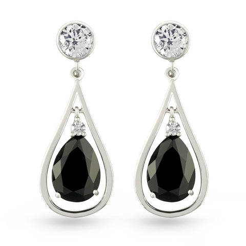 Black Zircon Drop Earrings