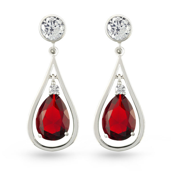 Red Zircon Drop Earrings