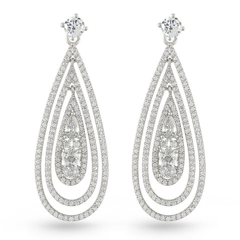 Bridal Cubic Zirconia Triple Tear Drop Earrings