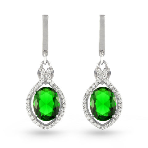 Green Cubic Zirconia Drop Earrings