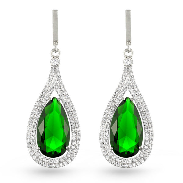 Emerald Green Tear Drop Earrings