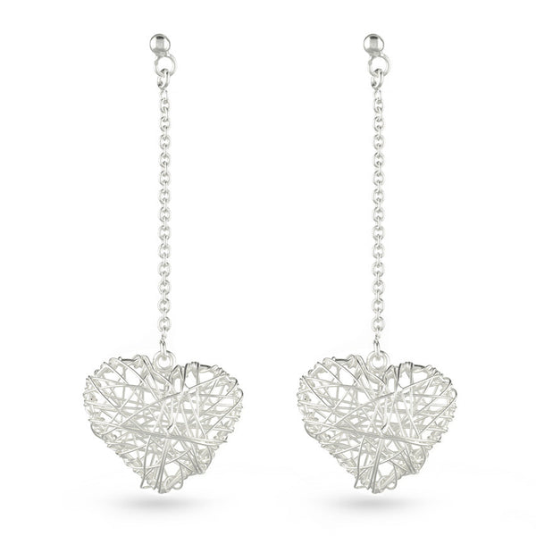 Silver Web Heart Drop Earrings