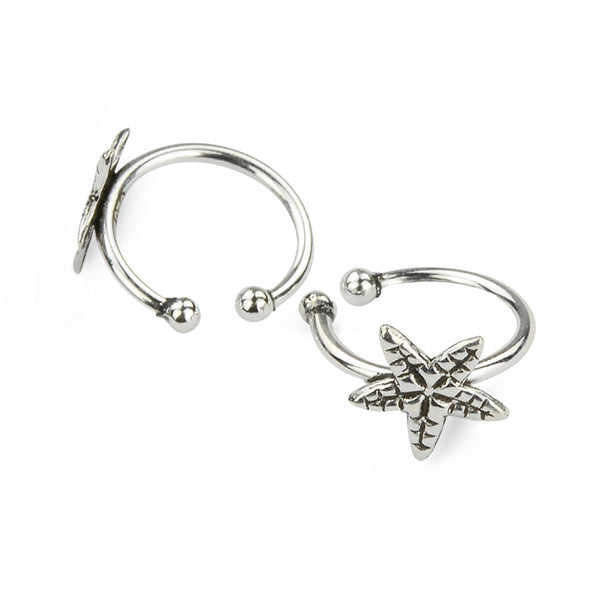 Sterling Silver Starfish Oxidised Wrap Clip Ear Cuffs No Piercing