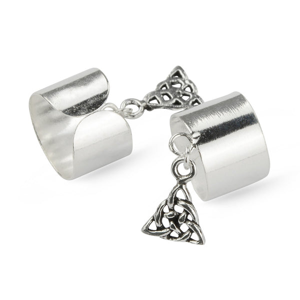 Celtic Sterling Silver Triangle Cuff Earrings Wrap No Piercing Ear Cuffs