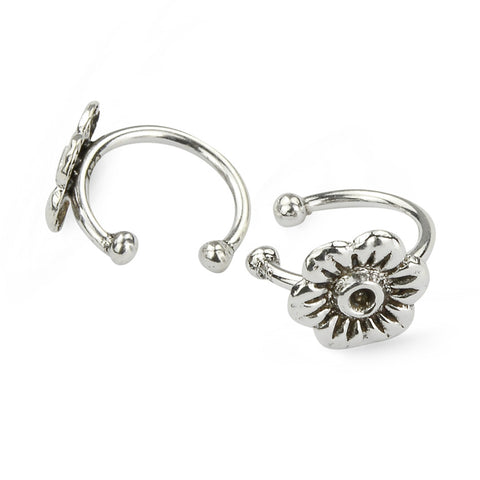 6 Petal Oxidised Silver Flower Ear Cuffs No Piercing