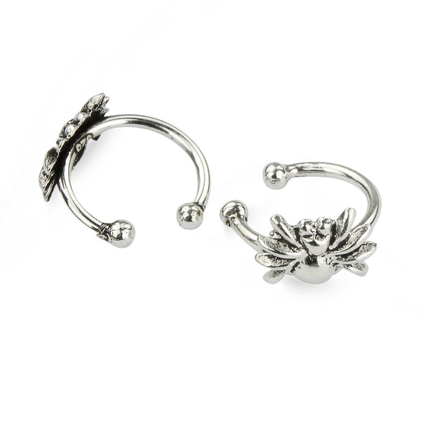 Sterling Silver Spider Oxidised Wrap Cuff Earrings No Piercing