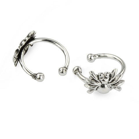 Silver Spider Oxidised Wrap Cuff Earrings No Piercing