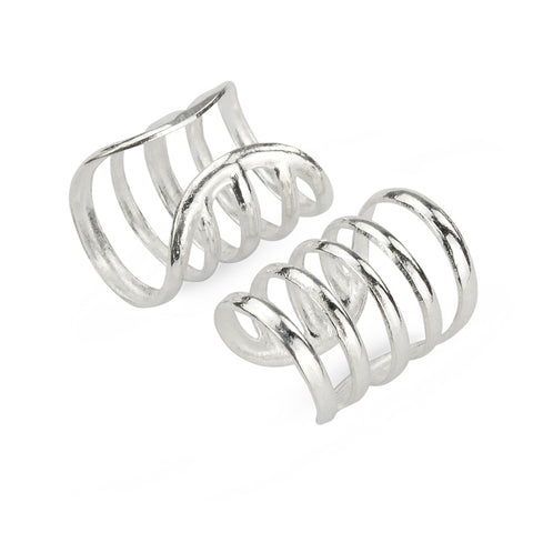 5 Silver Lines Wrap Cuff No Piercing Earrings