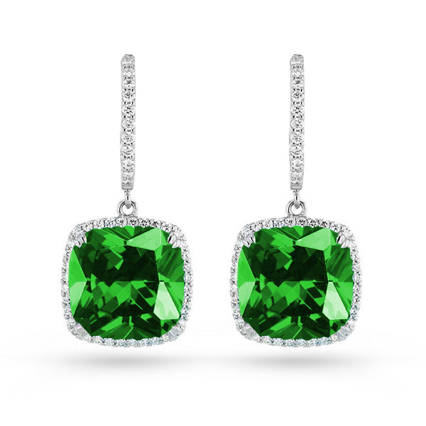Cushion Green Cubic Zirconia Gold Plated Sterling Silver Drop Earrings