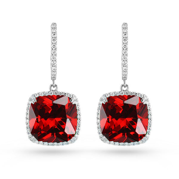 Cushion Red Cubic Zirconia Gold Plated Sterling Silver Drop Earrings