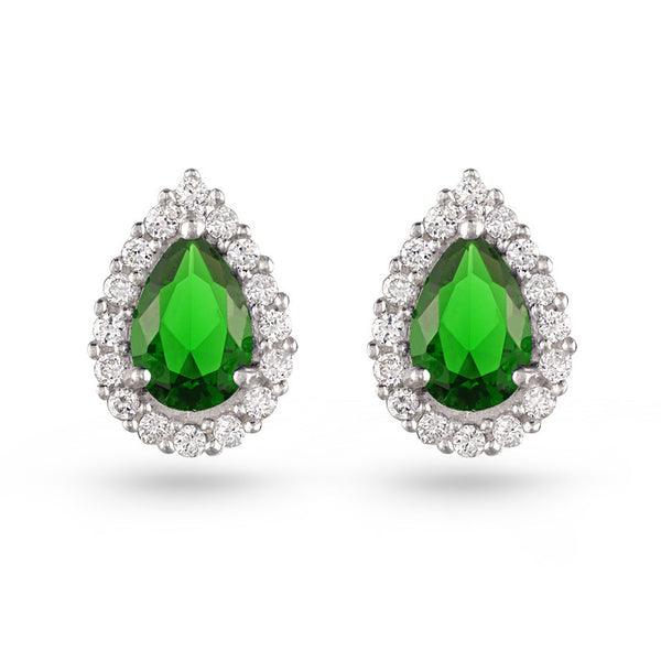 Emerald Green Pear Earrings