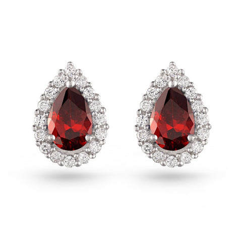 Ruby Red Pear Earrings