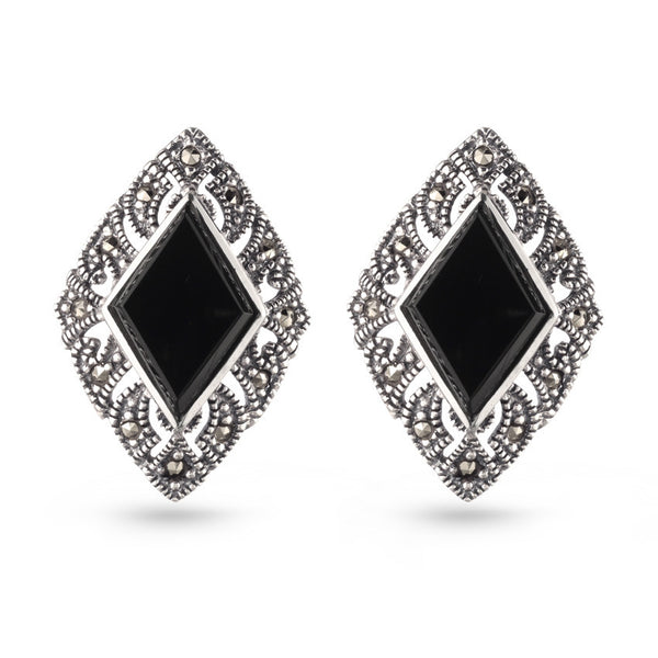 Marcasite Black Earrings